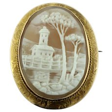 Antique 10K Yellow Gold & Shell Cameo Pin/Pendant with Lighthouse-Bridge-Trees