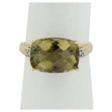 14k Yellow Gold Yellow Cushion Cut Quartz Ring with Diamond Accents - Size 8