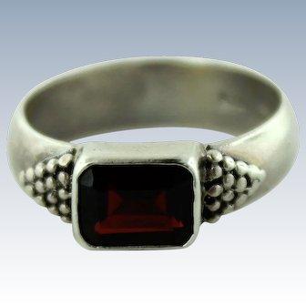 Signed Boma Southwestern Sterling Silver & Spessartine Garnet Ring - Size 8