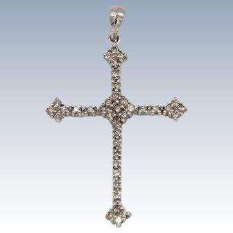Sweet 14kt White Gold 38-Diamond Filled Cross Pendant