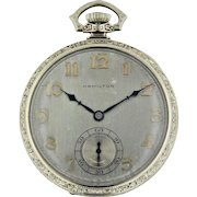 "1927 Hamilton 12s 19 Jewel 14K White Gold ""To Mother"" Pocket Watch with Subdial"