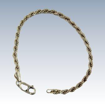 "Sweet Sterling Silver 7"" Rope Bracelet"