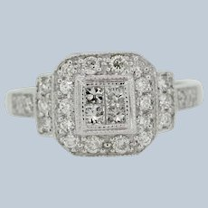 14k White Gold Round/Princess Cut Diamond Cluster Engagement Ring - Size 6.75