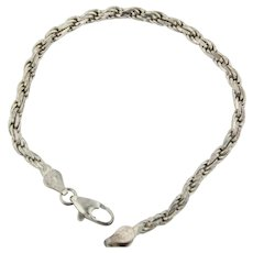 "Sweet Sterling Silver 7"" Rope Link Bracelet"