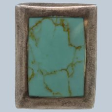 Large Sterling Silver Rectangle Turquoise Inlay Cocktail Ring - Size 6