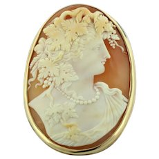 """Antique 14K Yellow Gold & Carved Shell Cameo 2"""" Pin - With Leaves in Hair & Wearing Pearl Necklace"""