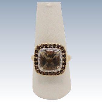Sweet 14k Yellow Gold Smokey Quartz and Diamond Cocktail Ring - Size 8