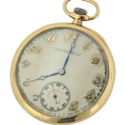 Antique Patek Philippe Geneva 18J 18K Yellow Gold Swiss Pocket Watch with Enamel Monogram