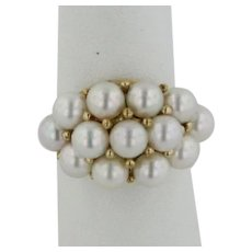 14kt Yellow Gold 13 Pearl Cluster Ring - Size 6
