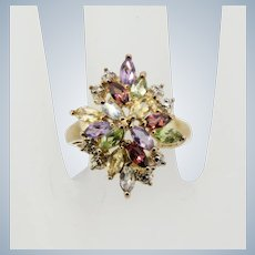 Sweet Gold-Tone Sterling Silver Colored-Stone Cluster Ring - Size 7