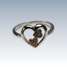 Sweet 10K Tri-Gold Triple Heart Love Ring w/Diamonds (.08ctw) - Size 7