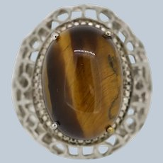 STS Sterling Silver Filigree Tigers Eye Cocktail Ring - Size 7