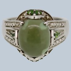 Sterling Silver Green Cabochon/ Green CZ Cocktail Ring - Size 7