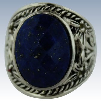 Ornate Sterling Silver-Oval Blue Lapis-Yellow Citrine Ring-Size 6-Stamped NBA