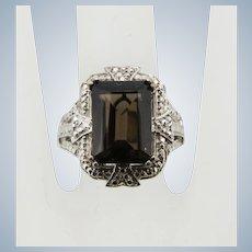 Karis Sterling Silver Smoky Quartz Cocktail Ring - Size 6.25