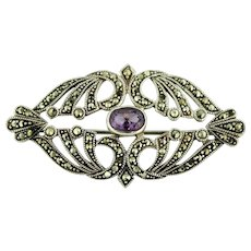 """Delicate Vintage Sterling Silver - Purple Amethyst (7x5mm) - Marcasite 2"""" Pin"""