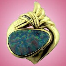 "Abstract Heart 14K Yellow Gold - Oval Blue Fire Opal - Diamond Slider 1"" Pendant"