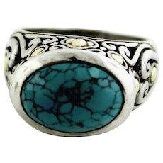 Samuel B BJC (Benham) Sterling Silver 925-18K Yellow Gold-Turquoise Ring-Size 7