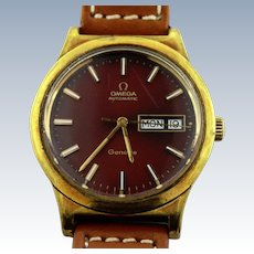 Vintage Omega Geneve Automatic 36mm Brown Dial Men's Watch-Leather Band