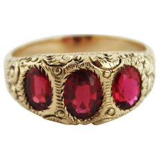 Vintage 10K Yellow Gold Gent's Men's Ring w/Three Oval Garnets - Curled Feather Design - Size 11.5