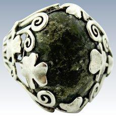 Vintage Ireland Sterling Silver Shamrock & Green Connemara Marble Ring - Size 11