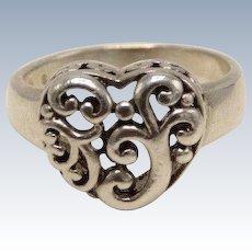 Sweet Sterling Silver 925 Swirl Heart Ring - Size 7.75