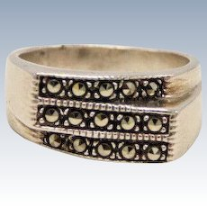 Sweet Sterling Silver Triple Band with Marcasites - Size 5.5