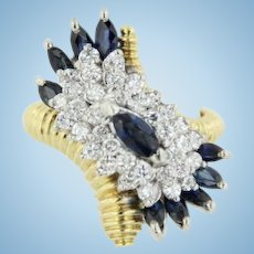 Unique 18kt Yellow Gold Sapphire and Diamond Ridged Bypass Ring - Size 7.75