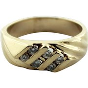 Men's 14K Yellow Gold Wedding Ring Band w/6 Round Diamonds (.3ctw) in Size 9