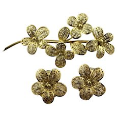 Delicate Gold Plated Sterling Silver Filigree Flower Pin & Clip Earring Set - Germany