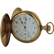 Antique 1897 Hampden Watch Co 14K 12s 21 Jewel Lever Set Hunter Case Pocket Watch