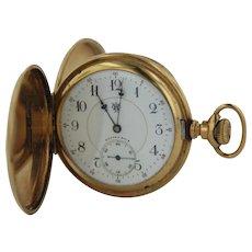 Antique 1897 Hampden Watch Co 14K 12s 21 Jewel Lever Set Hunter Case Pocket Watch