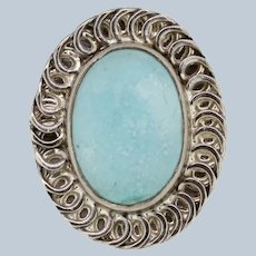 Bold Sterling Silver Oval Turquoise Swirl Ring - Size 5.25