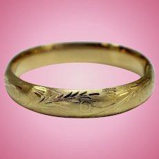 "Large 14K Yellow Gold Etched Bangle 12mm Wide Bracelet - 2 1/4"" Diameter"