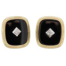 14k Yellow Gold Onyx/Diamond Cufflinks