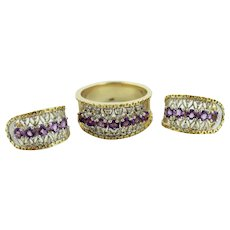 14K Two Tone Gold Diamond-Purple Amethyst Huggie Earring-Ring (9) Set-FM/FC Mark