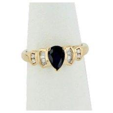 Elegant 14K Yellow Gold Diamond and Sapphire Ring - Size 5.5