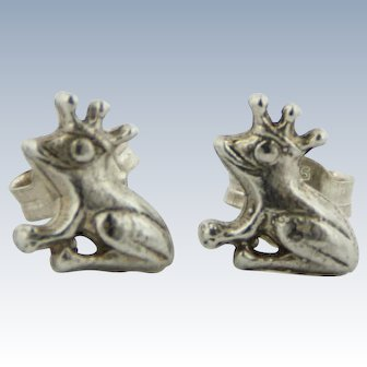 Sweet Sterling Silver Frog Prince Stud Earrings