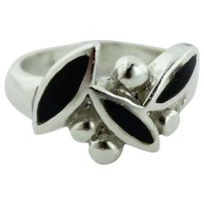 Women's Sterling Silver & Black Onyx Free Form Pedal & Bead Ring - Size 6.5