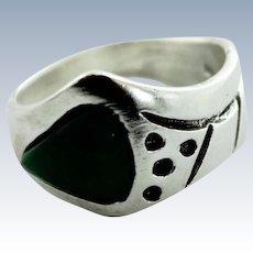 Women's Southwestern Sterling Silver & Green Malachite Ring - Size 7.5
