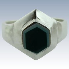 Women's Sterling Silver & Green Malachite Hexagon Styled Ring - Size 6.25