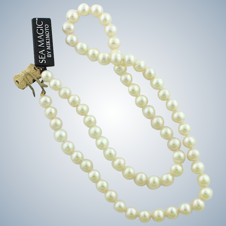 a7553415c7776 Beautiful Sea Magic by Mikimoto 18 Pearl Necklace w/14K Yellow Gold Box  Clasp