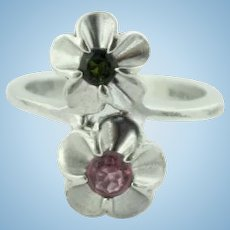 Sweet Sterling Silver Flower Bypass Ring w/Dark Green & Pink CZs-Size 5.75