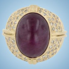 Vintage 18k Yellow Gold Cabochon Ruby & Diamond Wide Band Ring - Size 8