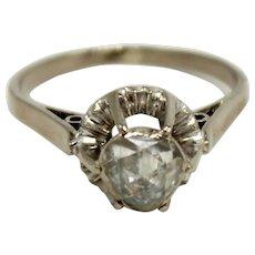 Unique/Antique 14K White Gold Rose Cut .75ct Diamond Halo Engagement Ring-Size 7