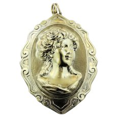 Vintage Henryk Winograd HW999 Fine 999 Silver Repousse Oval Cameo Pendant