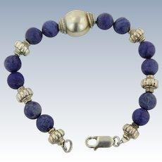 """Sweet Sterling Silver Beaded Blue Stone Link Bracelet - 7.5"""""""