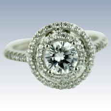 Beautiful 18K White Gold & CZ Halo Engagement Ring in Size 5.25