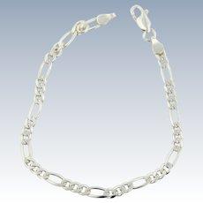 "Sweet Sterling Silver Figaro Link Bracelet - 7.5"""