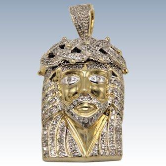 10k Yellow Gold Diamond Filled Jesus Head Pendant